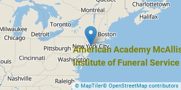 Location of American Academy McAllister Institute of Funeral Service