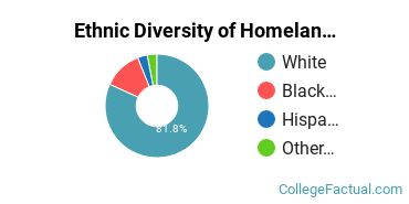 Ethnic Diversity of Homeland Security, Law Enforcement & Firefighting Majors at Ashland University