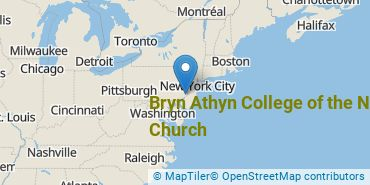 Location of Bryn Athyn College of the New Church