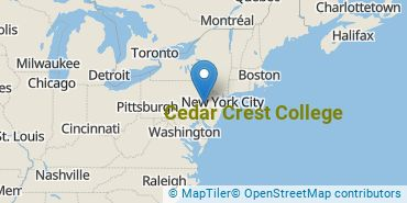Location of Cedar Crest College