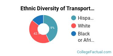 Ethnic Diversity of Transportation & Materials Moving Majors at Central Arizona College