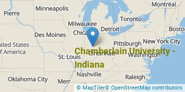 Location of Chamberlain University - Indiana