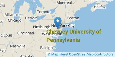 Location of Cheyney University of Pennsylvania