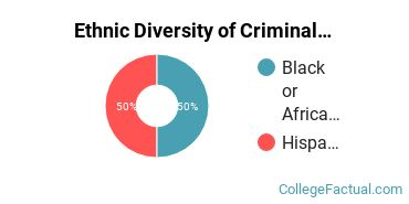 Ethnic Diversity of Criminal Justice & Corrections Majors at Daymar College - Nashville