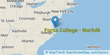 Location of Fortis College - Norfolk