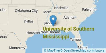 Location of University of Southern Mississippi
